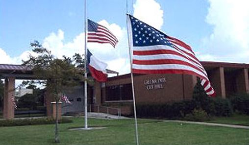 Flags in Front of Community Center